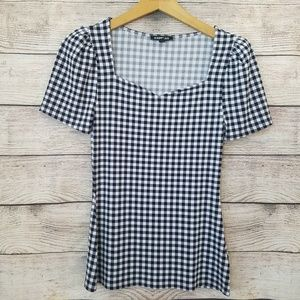 Express Checkered Boat Neck Blouse XS